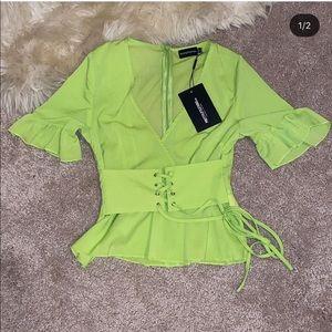 🔥Neon Green tie top PLT